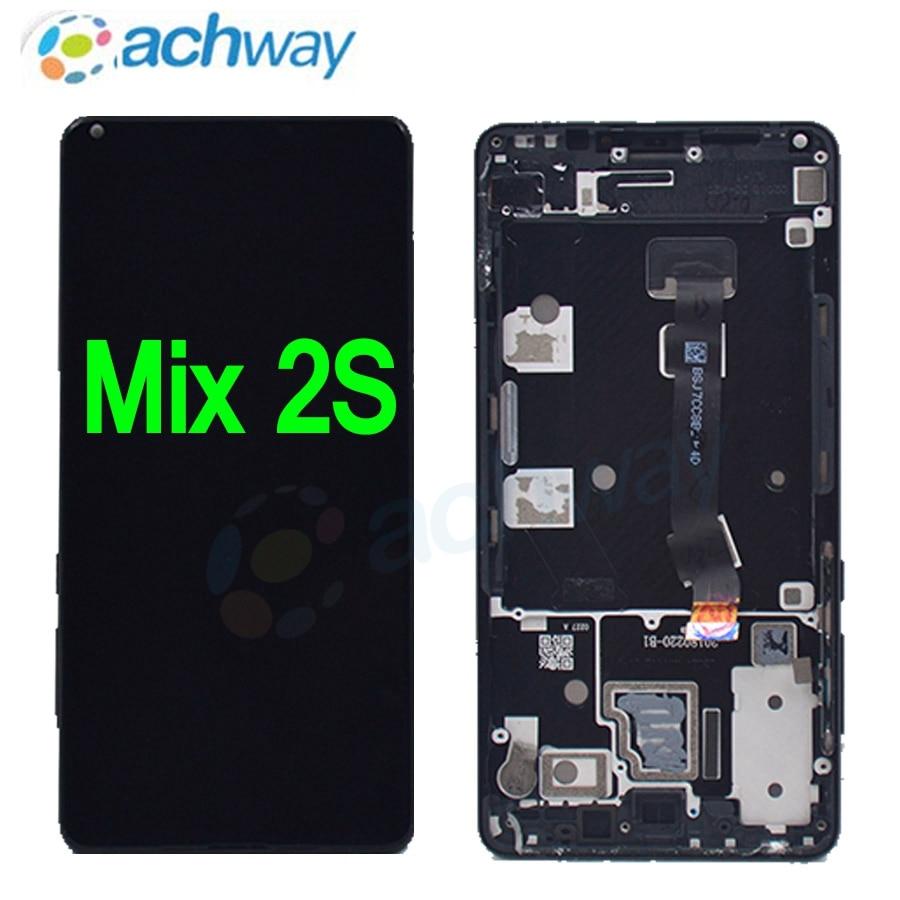 "5.99 ""xiaomi mi mix 2 s display lcd tela de toque digitador assembléia com moldura para xiaomi mix2s lcd substituição preto/branco"