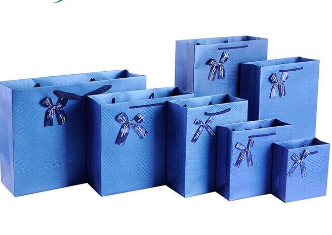 Free Design 100PCS/LOT Blue Paper Bag/Paper Gift Bag Printed LOGO Lowest Price Wholesale