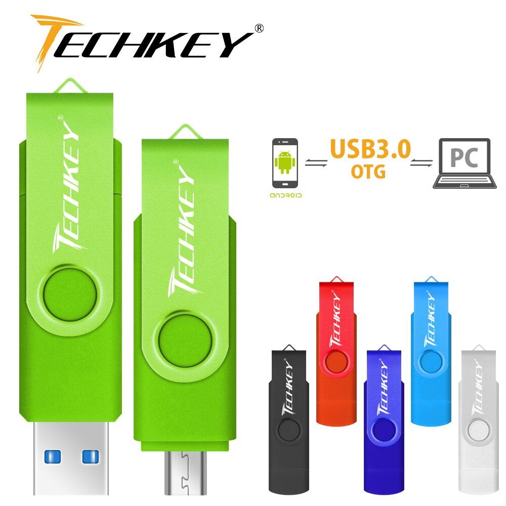 Nuevo TECHKEY usb OTG 3,0 64gb usb flash drive 3,0 32gbpen drive 8gb 16gb memoria cel usb, disco usb pendrive regalo para móvil