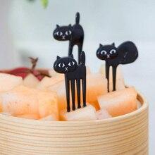 6Pcs Black Mini Animal Fork Fruit Picks Cute Cartoon Cat Children Fork Bento Lunch Box Decor Accessories