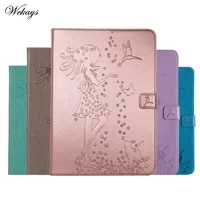 wekays case luxury cartoon girl and cat leather flip case for samsung galaxy tab e 9 6 t560 t561 stand full cover capa funda