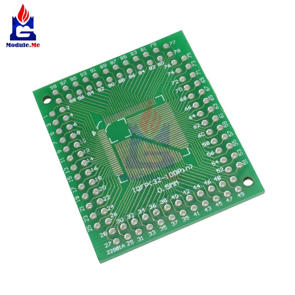 2 pces qfp/tqfp/lqfp/fqfp 32/44/64/80/100 para mergulhar adaptador pcb placa conversor