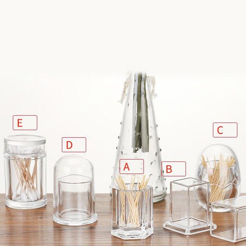 Doreenbeads suporte de palito de acrílico, transparente, redondo, formato quadrado, para restaurante, decoração de mesa, caixa de cotonete, 1 peça
