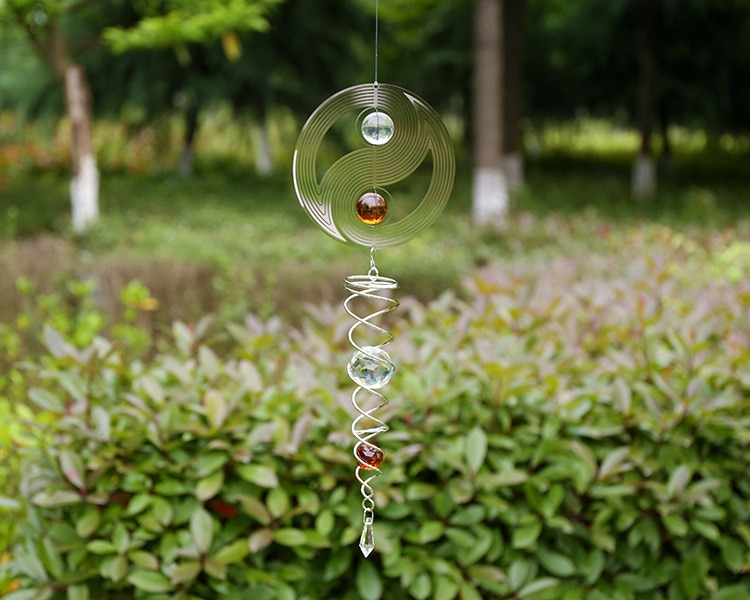 Espejo de acero inoxidable bola de cristal metal giratorio carillón viento giro adornos exterior jardín tornado viento giro colgante