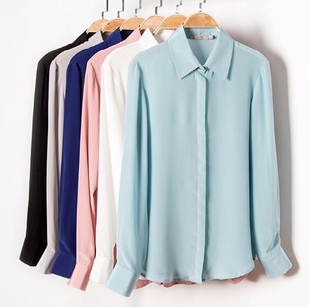 Qualität 100% Reiner Seide Solide Grund Farbe Kragen Hemd Top Bluse L XL 2XL YS001