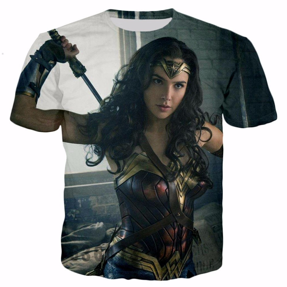 Nueva camiseta de película Gal Gadot Wonder impresa 3D Hip Hop famosa marca Harajuku camiseta tamaño completo S-5XL