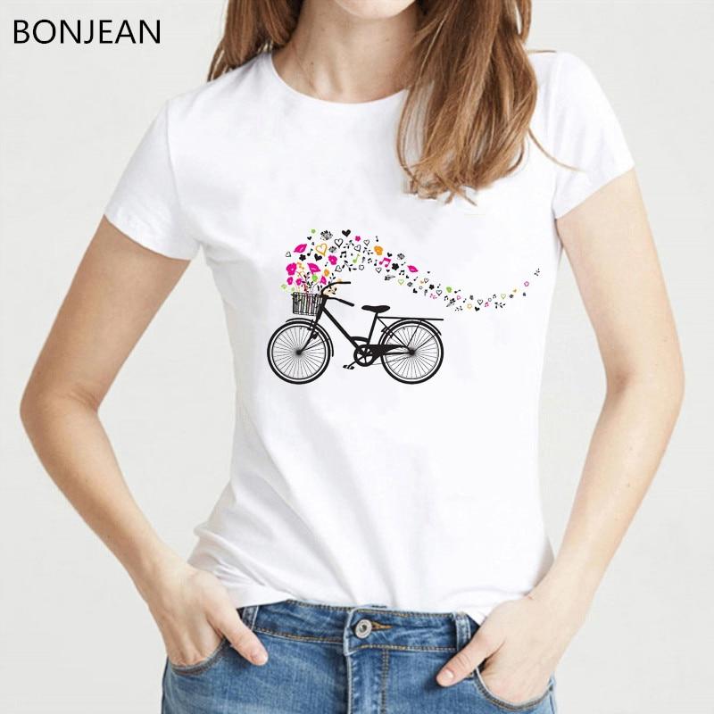 Loveheart bicycle printed tshirt women harajuku kwaii t shirt white summer top female t-shirt tumblr tee shirt femme clothe