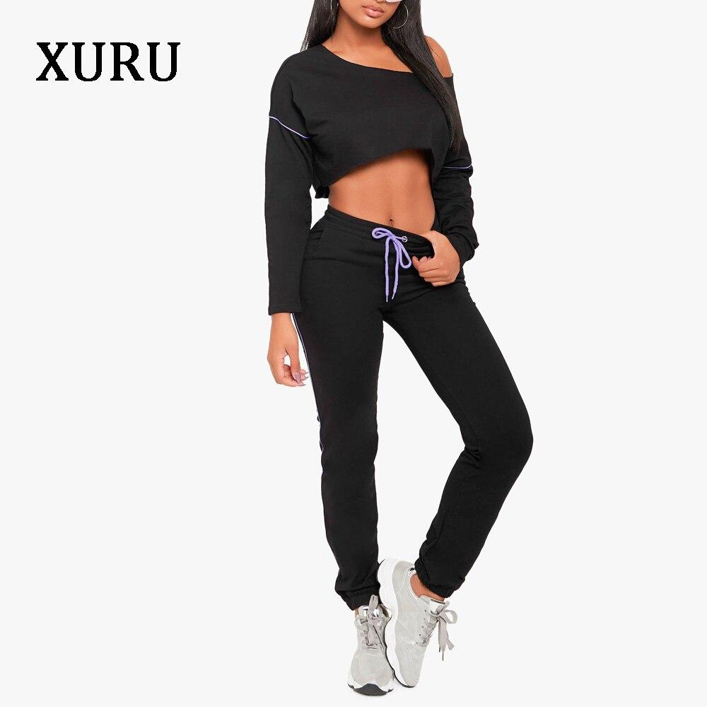 XURU Autumn Black Loose Jumpsuits Elastic Waist Long Pants Jumpsuit Casual Two-piece Set women's Jumpsuit Street Clothing grey off shouder elastic waist jumpsuits