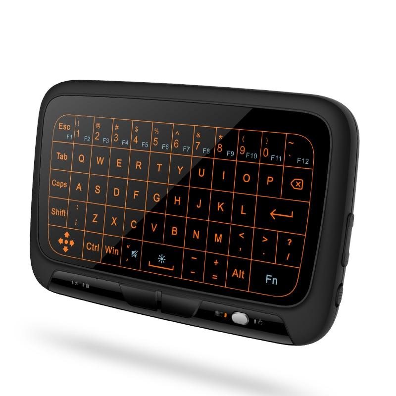 H18 + Retroiluminado Full Touchpad 2.4 ghz Mini Wireless Keyboard Air Mouse for Android TV Box, IPTV, mini PC, Projetores, Computadores Portáteis,