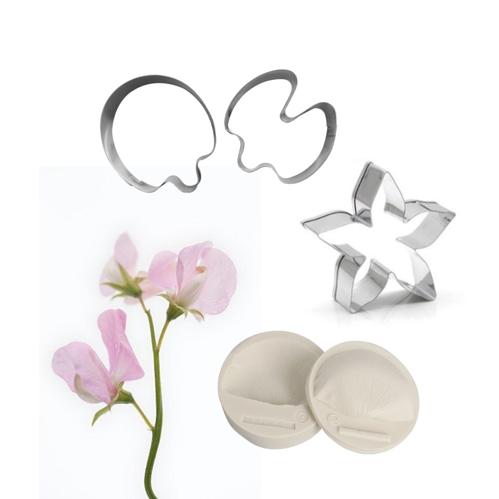 5 pçs doce ervilha flor impressão molde & cortador de flor se molde de silicone bolo decoração fondant sugarcraft bolo molde