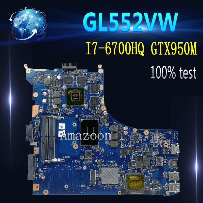 Placa base para ordenador portátil Amazoon ROG revrev2.1 para ASUS GL552VW GL552VX ZX50V placa principal original de prueba I7-6700HQ GTX950M/2G 40 -pin