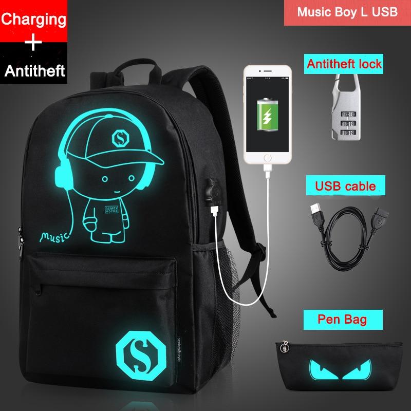 Рюкзак с серебристыми рисунками для подростков, школьные сумки для мальчиков, сумки с ночным освещением, Бесплатная USB + сумка с ручкой + Прот...