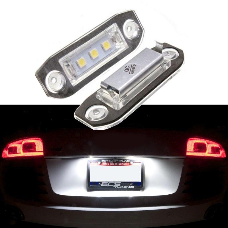 2 lámparas de montaje de luz LED de matrícula Canbus sin Error para Volvo S80/XC90/S40/V60/XC60/S60/V70/C70/V50/XC70, accesorios para coches