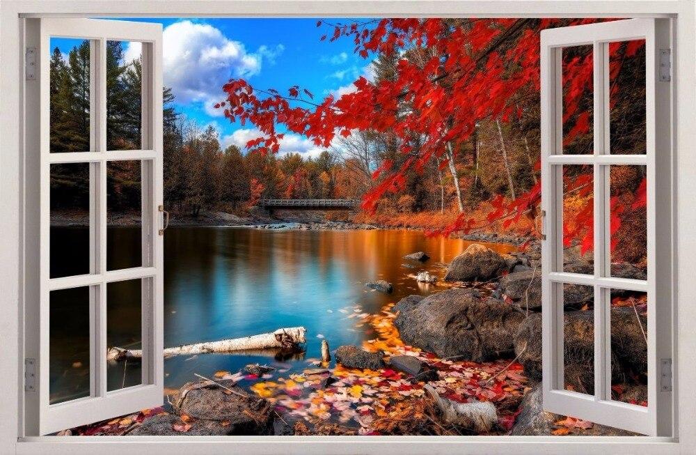 Envío Gratis 3D efecto pegatinas de pared/ventana lago de otoño pegatina calcomanía de decoración de vinilo Mural foto papel pintado casa decoración regalo