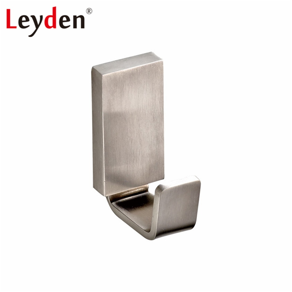 Leyden-خطاف معطف من الفولاذ المقاوم للصدأ مع النيكل المصقول ، خطاف ملابس مربع واحد مثبت على الحائط ، ملحق للحمام