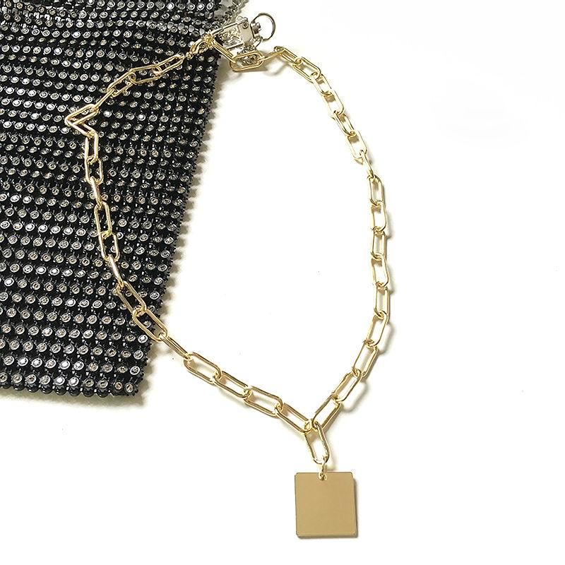 Statement Thick Chain Necklace 2019 Fashion Simple Square Pendant Necklaces Hip hop Women Men Jewelry