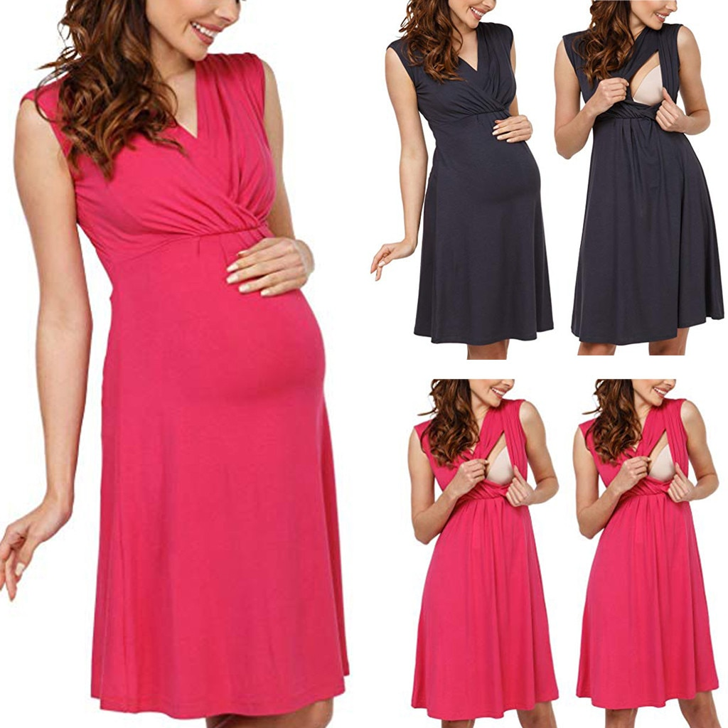 Mujeres embarazadas Maternidad de Enfermería de lactancia materna de verano vestido de maternidad MAR6
