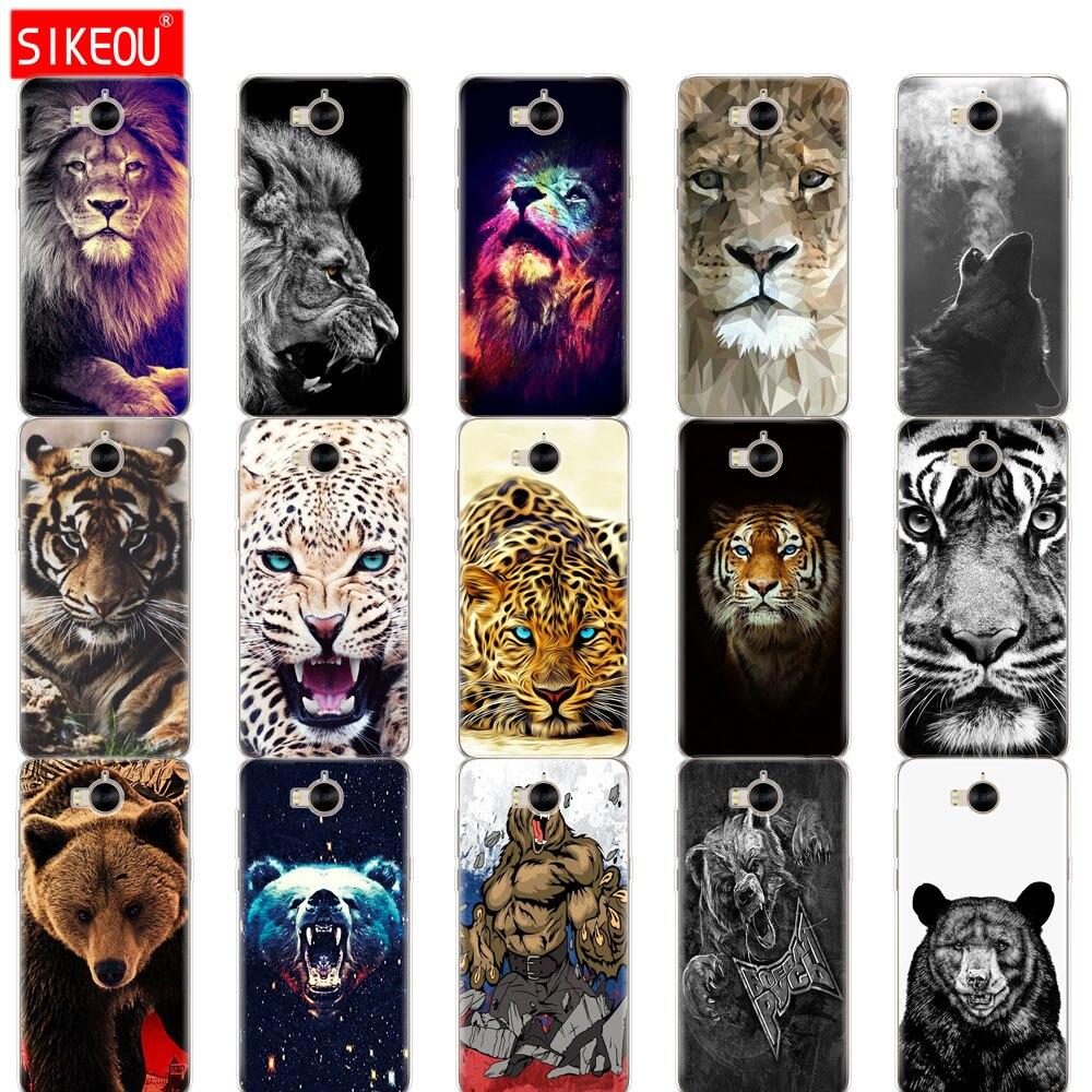 Funda de teléfono de silicona para huawei Y6 2017 /Y5 2017, tpu suave completo 360 a prueba de golpes, Lobo, Tigre, León, leopardo