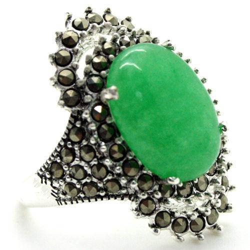 nice gift 17*29mm VINTAGE GREEN Natural jade MARCASITE 925 STERLING  RING SIZE 7/8/9/10