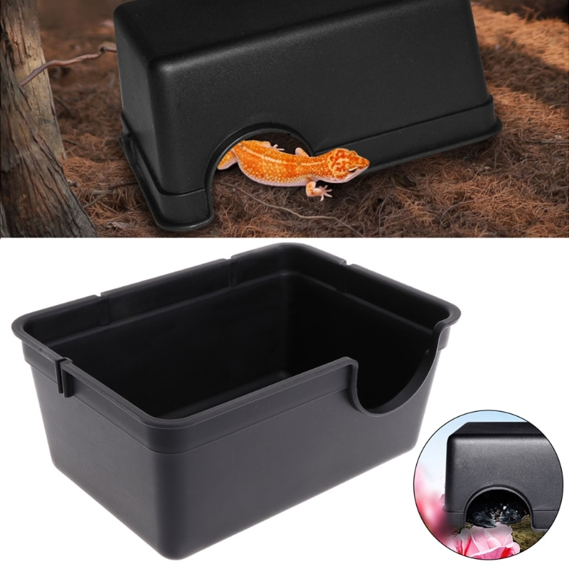 Reptile Box Hiding Case Hole Water Feeder Spider Turtle Snake Supplies Centipede