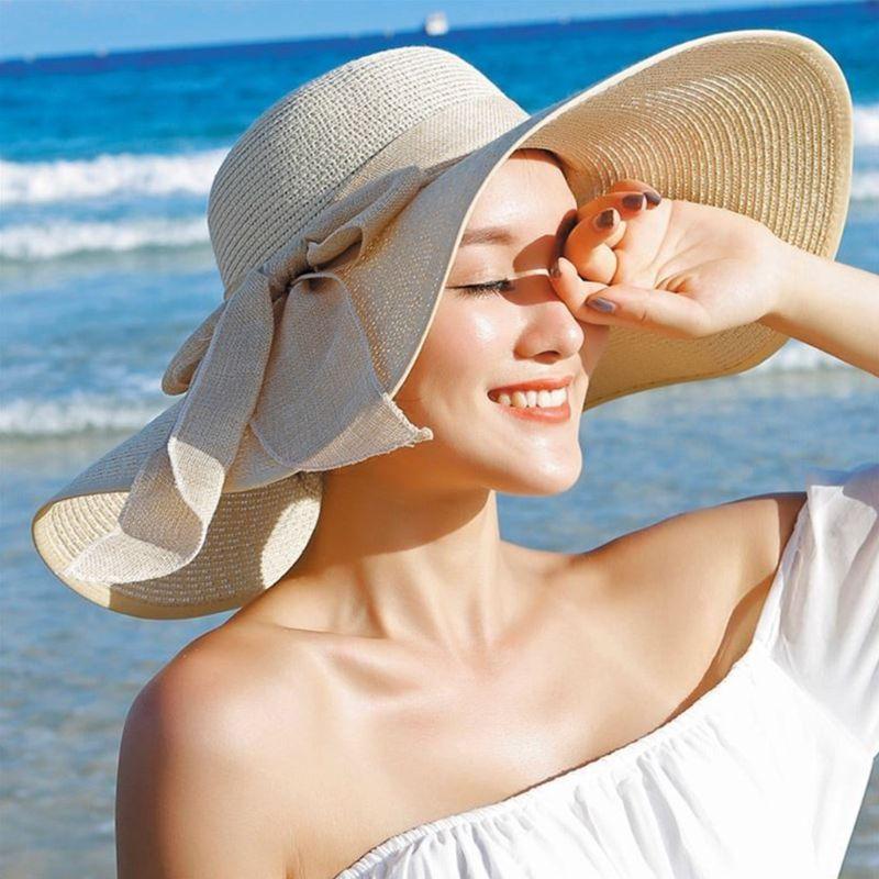 Женская соломенная шляпа от солнца, летняя однотонная Панама карамельных цветов с очень широкими полями, складная шляпа с бантом из ленты, с...