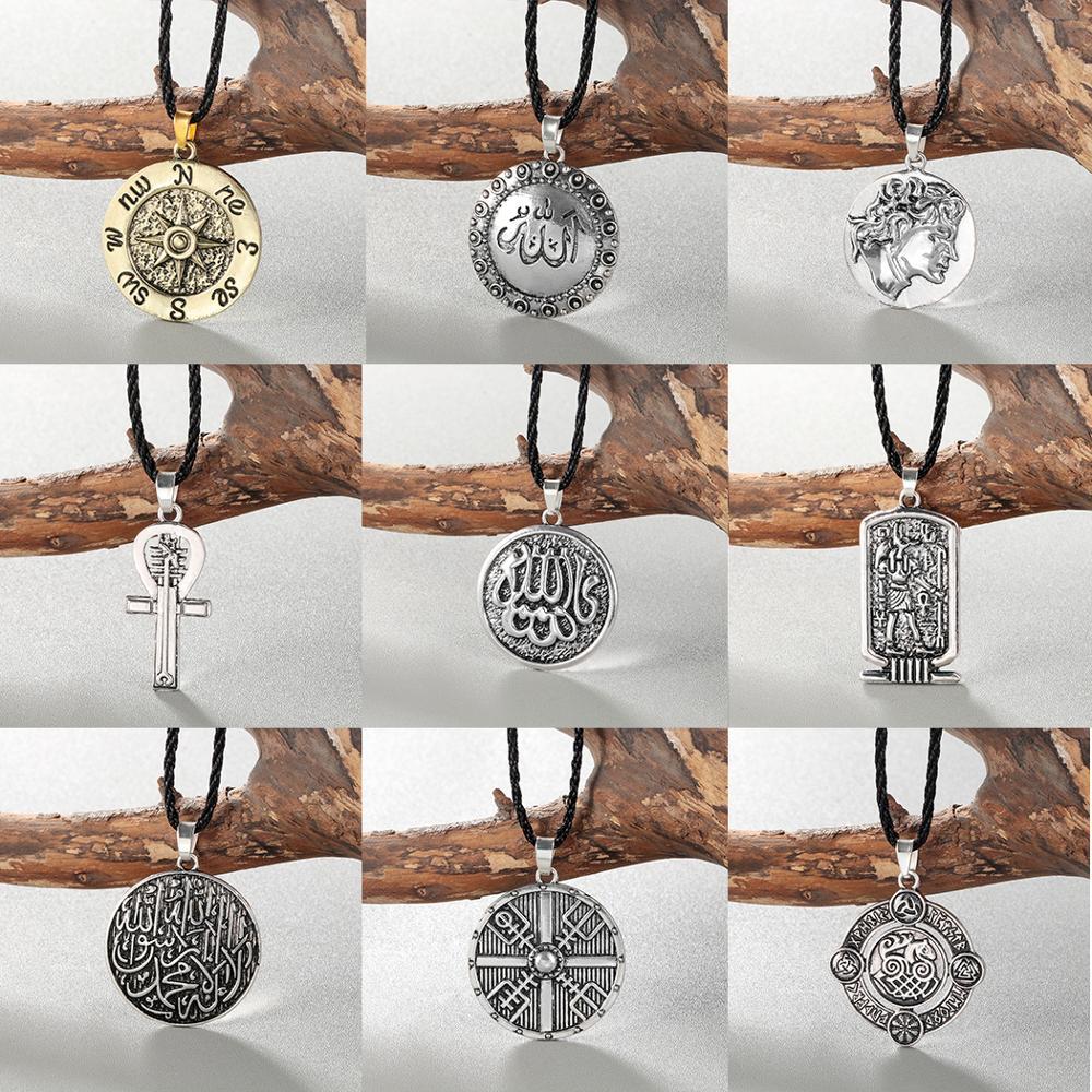 Collar de varios hombres Chereda, símbolo vikingo para mujer, casco de Horror en runas trenzadas, nudo de Borre, colgante único nórdico, regalo Masculino