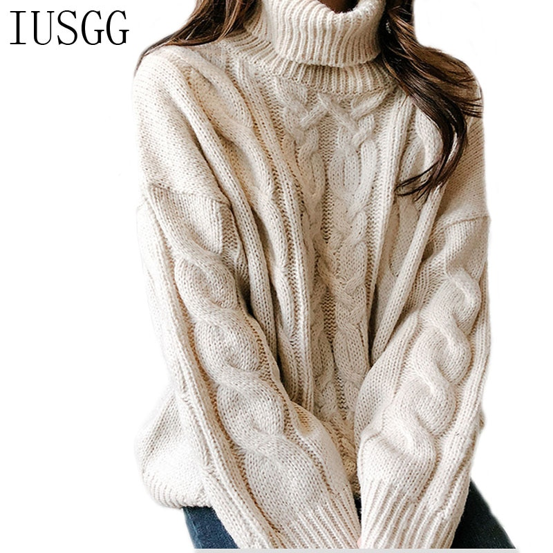 IUSGG Autumn Winter Sweater Women 2020 Knit High Elastic Pullovers Women Sweaters And Pullovers Female Twist Pattern Women Tops