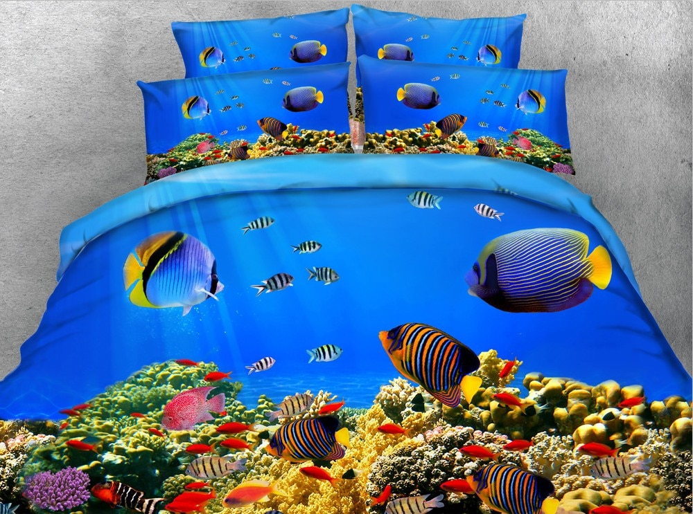 Conjunto de cama de océano de pez 3D, edredón, funda de edredón, ropa de cama, sábanas, ropa de cama, Animal marino extragrande, tamaño queen, doble completo, 4 Uds