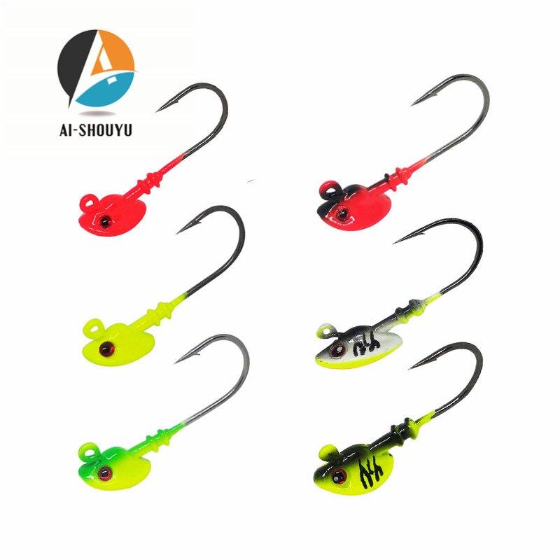 AI-SHOUYU 5 unids/lote Fishinghooks 7g/10g/14g/21g gancho Jig Head Multicolor aparejos de pesca carnada blanda con anzuelo Wom gancho de plomo