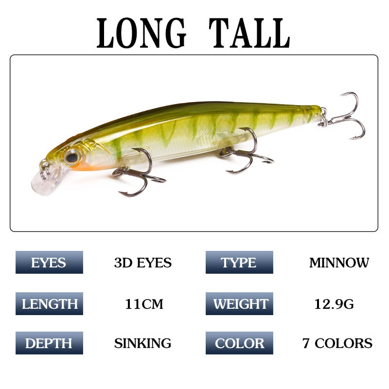 7Pcs/lot 11cm 12.9g Fishing Lure Isca Artificial Hard Bait With 3 Treble Hooks For Peche Fishing Tackle Pesca Minnow Lure enlarge