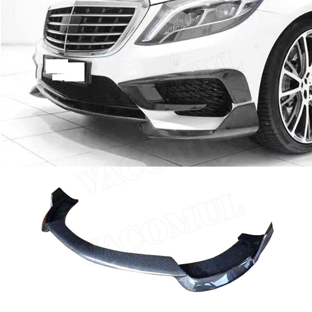 Perfil de alerón delantero de fibra de carbono para Mercedes Benz Clase S W222 S350 S400 S500 S63 S65 2014-2017 parachoques protector de barbilla estilo de coche