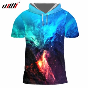 UJWI Spring Autumn New Men's Hooded T Shirt Print Galaxy Space Star T-Shirt Hoodies Homme Short Sleeve Hooded Casual TShirts