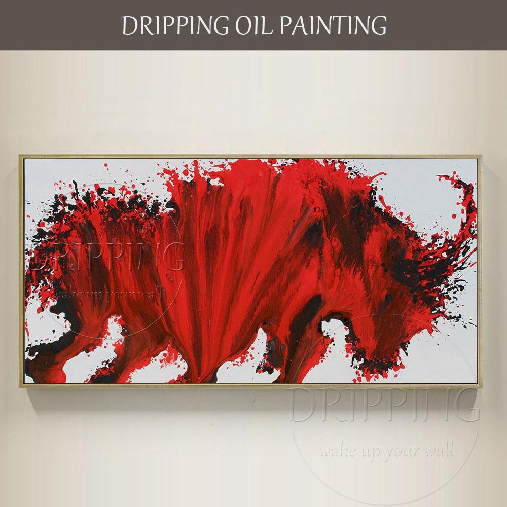 Arte de pared moderno de alta calidad pintado a mano de artista Toro rojo pintura al óleo para decoración hecha a mano nueva moda Animal toro pintura de aceite