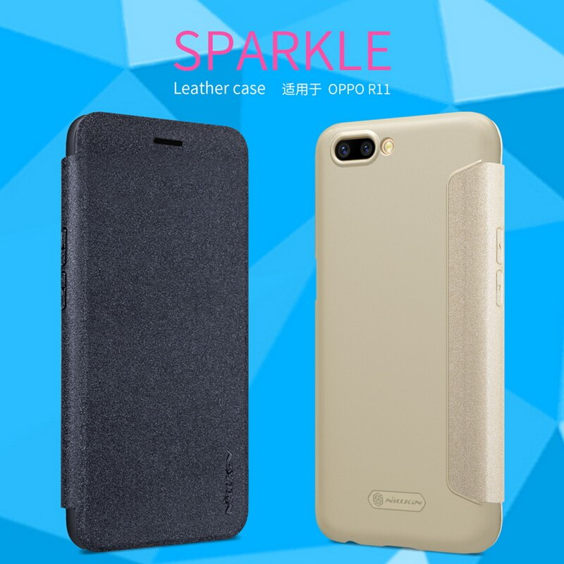 "Para OPPO R11 5,5 ""Funda de cuero NILLKIN Sparkle cubierta trasera de moda Flip PU teléfono Shell fundas de teléfono móvil para el modelo OPPO R11 Plus 6,0"""