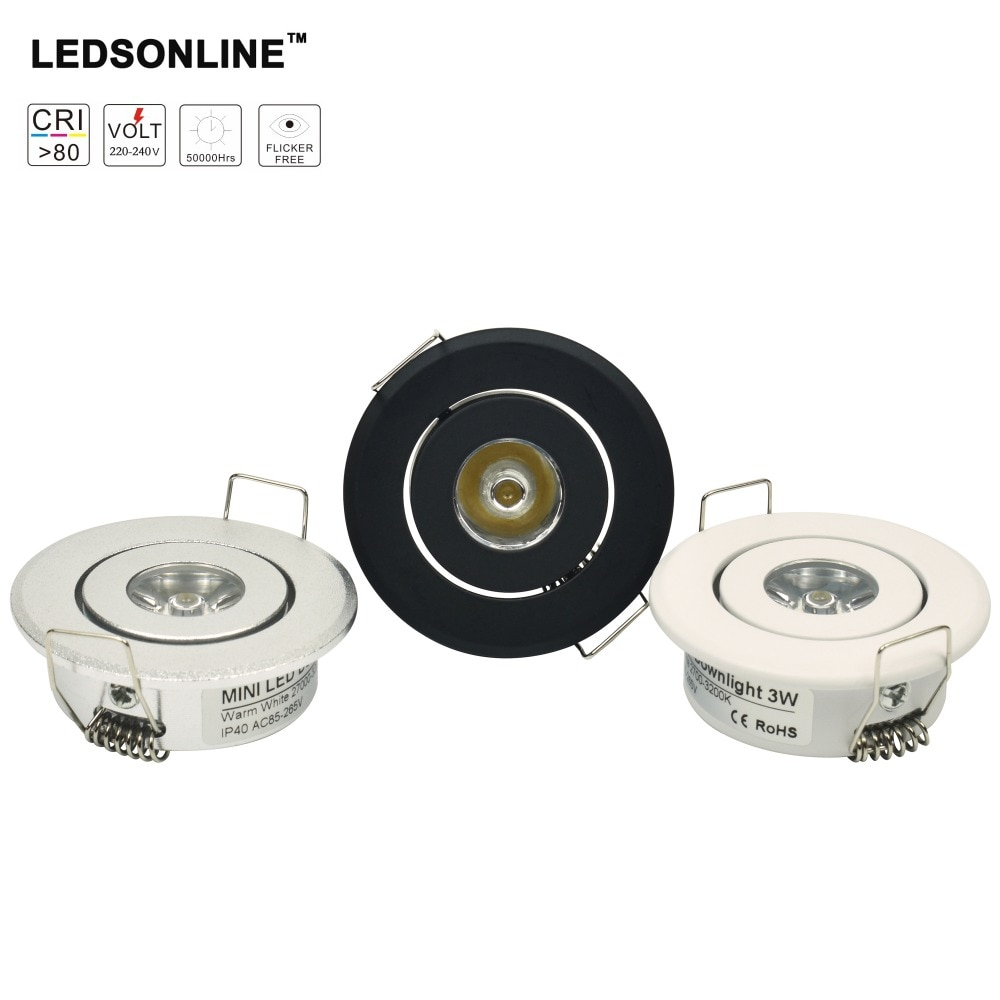 10 unidades 1W Mini led Downlight gabinete foco empotrable led conductor puro blanco cálido Naturaleza y blanco plata negro cuerpo AC85-265V