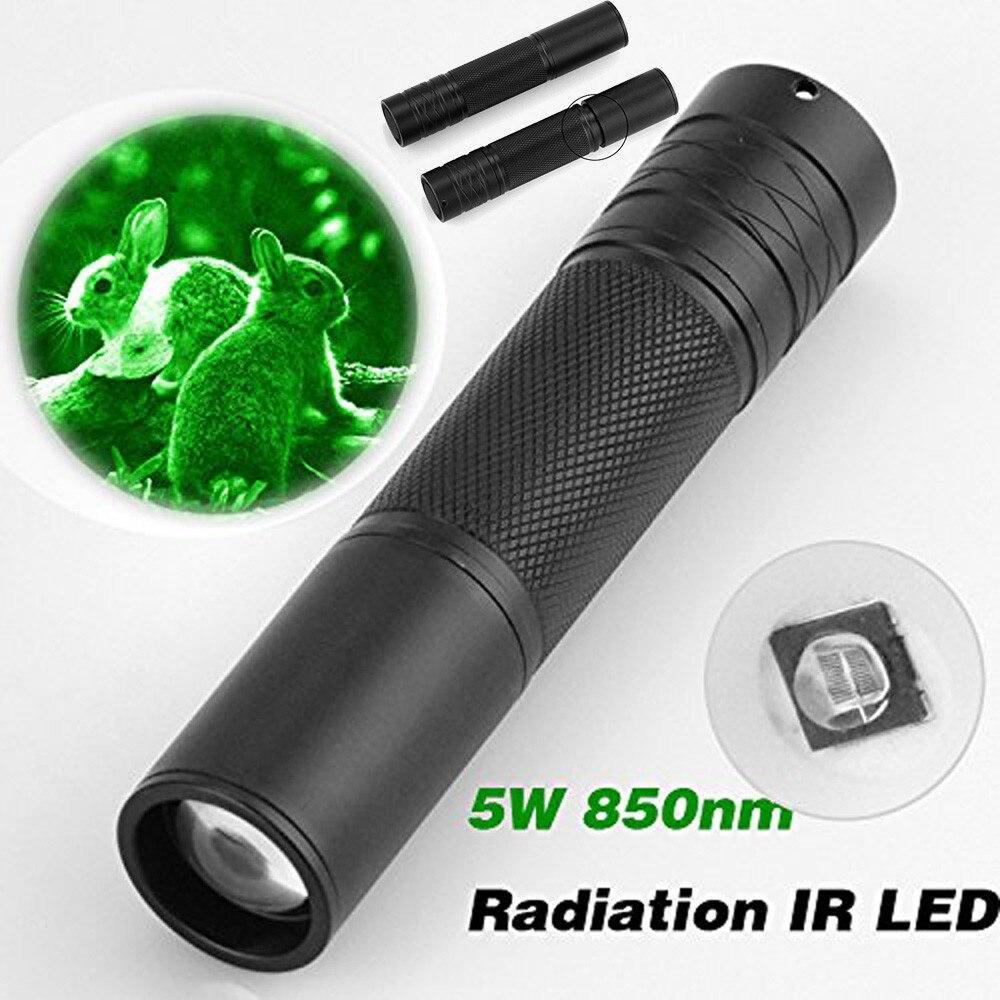 Ir visão noturna flashlgith 5 w 850nm led zoomable radiação infravermelha lanterna tático caça tocha CR-23 lanterna 2.0 #