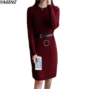 Women Sweater Dress New Autumn Winter Dress Open Fork Long Sleeved Sexy Knit Dress Loose Large Size Pullover Sweater Female K612