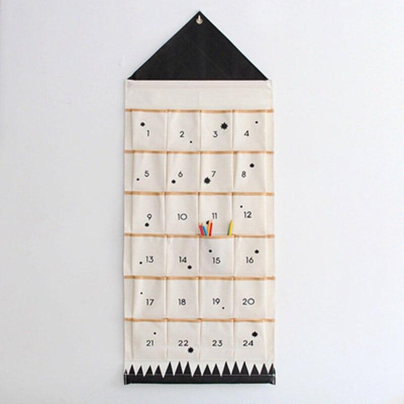Купить с кэшбэком 8/16/24 Pockets Calendar Storage Bag Wall Hanging Alphanumeric Canvas Sack Bags INS Nordic Children Room Organizer Home Decor