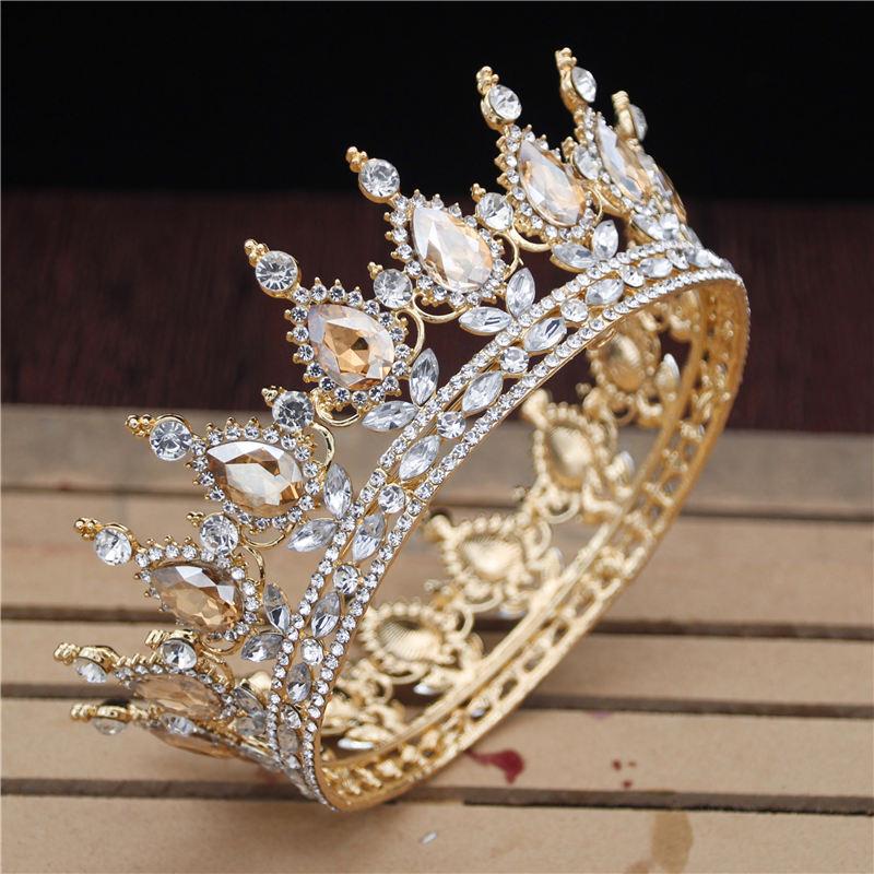Tiaras y coronas de cristal Vintage Royal Queen King para hombre/mujer, diadema de graduación, adornos para el pelo, accesorios de joyas para el pelo para boda
