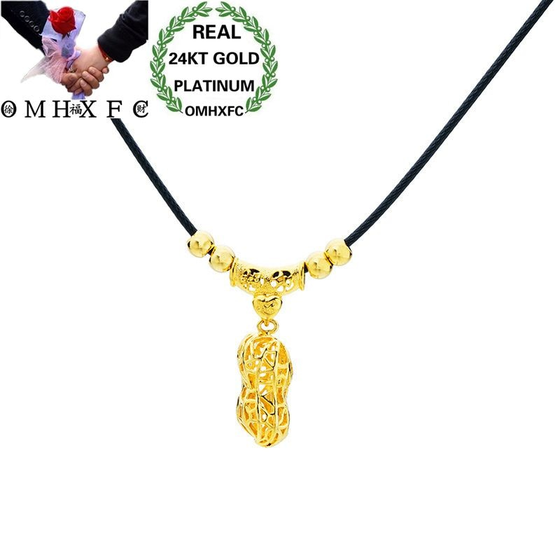 MHXFC gros mode européenne femme femme fête mariage cadeau renard arachide Rose feuille réel 24KT or pendentif collier NL176