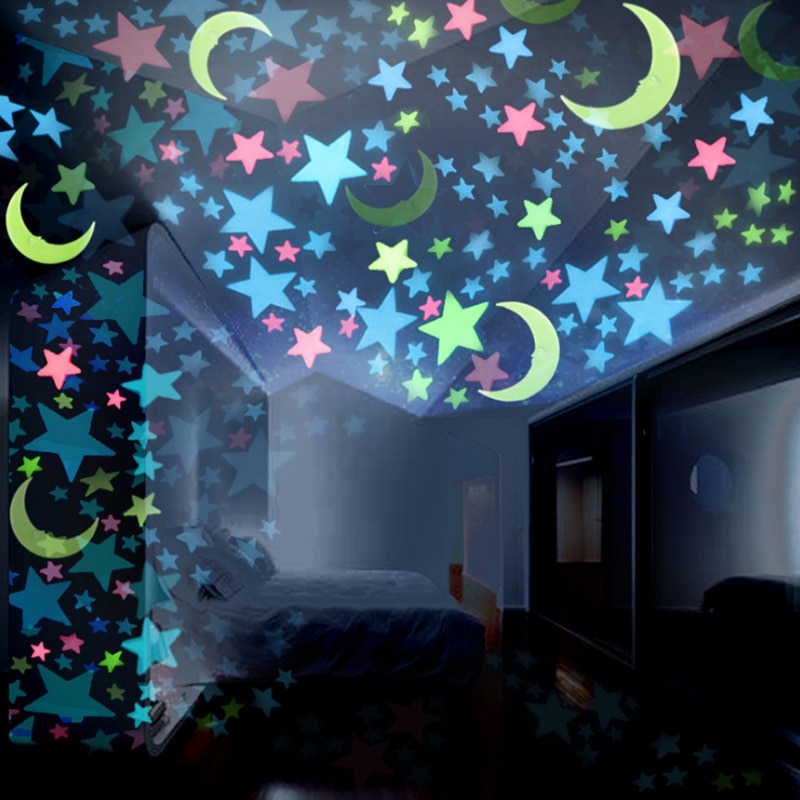 100 unids/bolsa 3cm pegatinas de Estrella luminosa dormitorio sofá pintura fluorescente juguete PVC pegatinas brillan en la oscuridad juguetes para niños