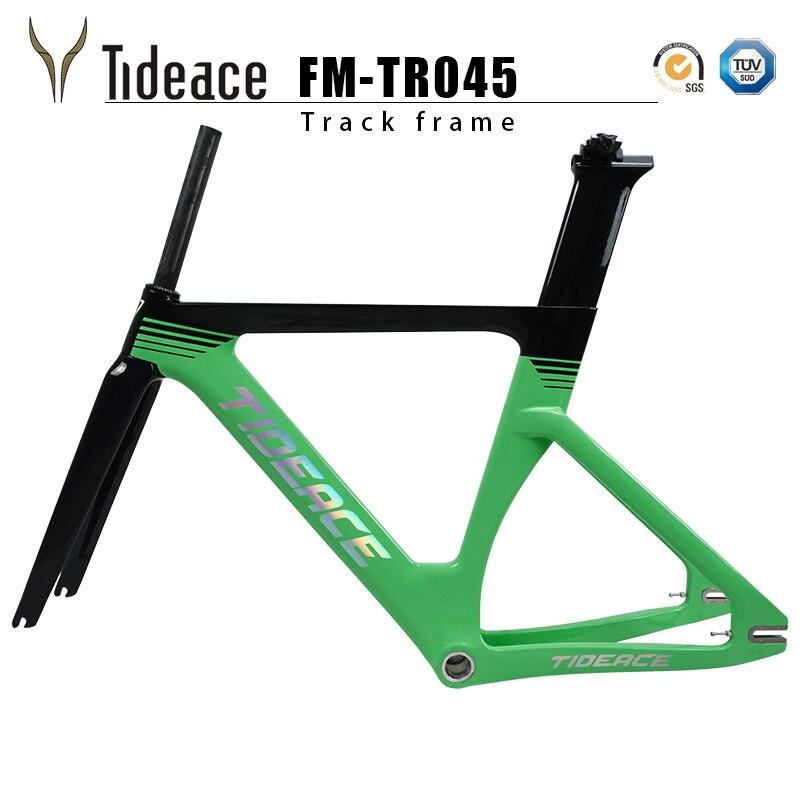 Carbón riel Estructura de fibra de carbono de piñón fijo marco de la bicicleta de carreras de carbono de bicicleta de Marcos 49/51/54cm con tenedor tija de sillín