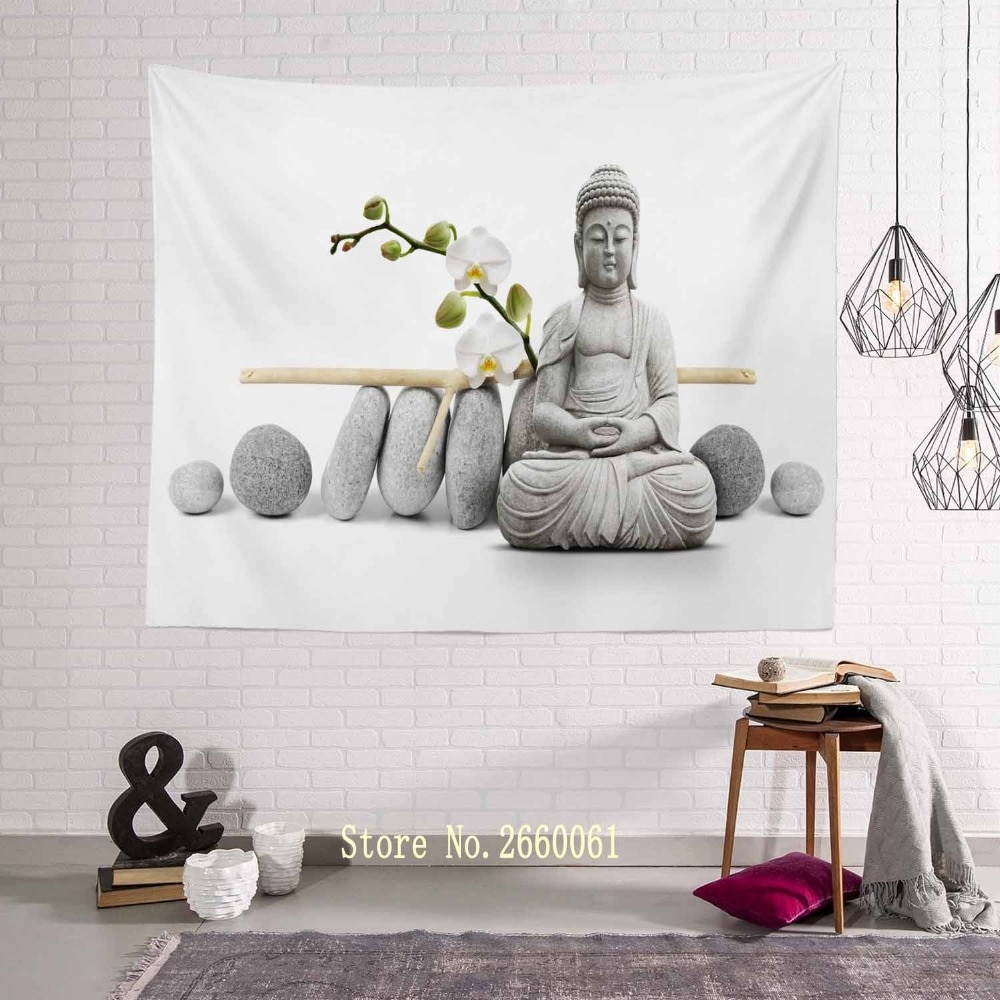 Tapices de pared colgantes de Buda retrato de Buda tapiz papel pintado con paisaje arte de pared decoración del hogar chal JDTAC1