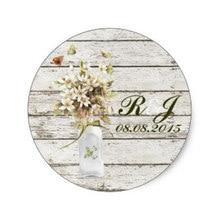 3.8cm elegant barnwood wildflower floral country wedding classic round sticker