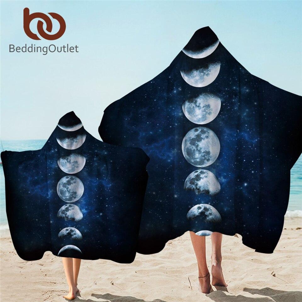 BeddingOutlet, toalla con capucha Moon Eclipse, Toalla de baño para adultos de galaxia con capucha, manta de playa de microfibra con paisaje en 3D, 1/2 unidades