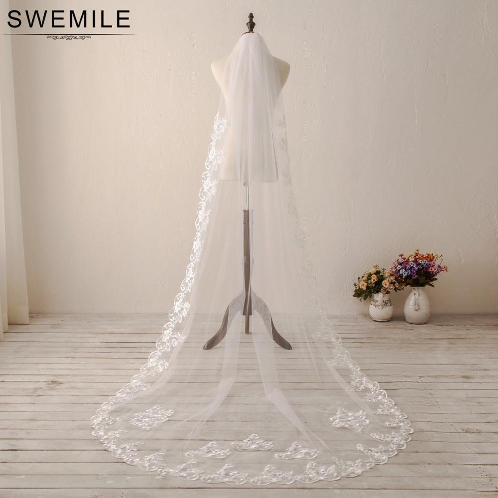 SWEMILE Voile Mariage 3M Spitze Kathedrale Hochzeit Schleier Weiß Elfenbein Eine Schicht Lange Braut Schleier Veu De Noiva Hochzeit zubehör
