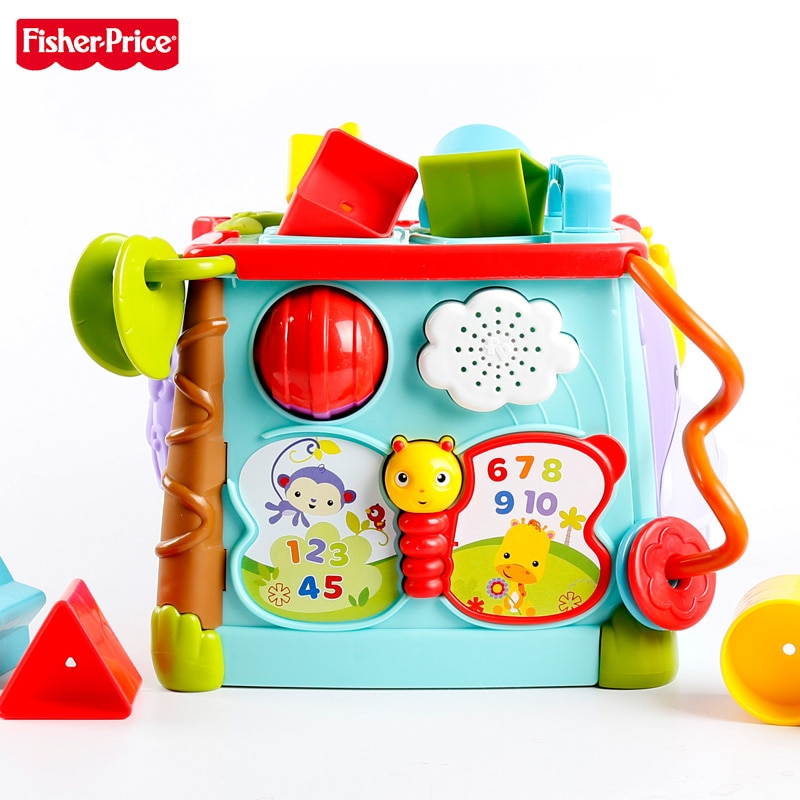 Fisher-Price Original Brand Baby Learning Toy Play & Learn Activity Cube Busy Box Man Use 6 Sides Kid Funny Toys CMY28 For Kid