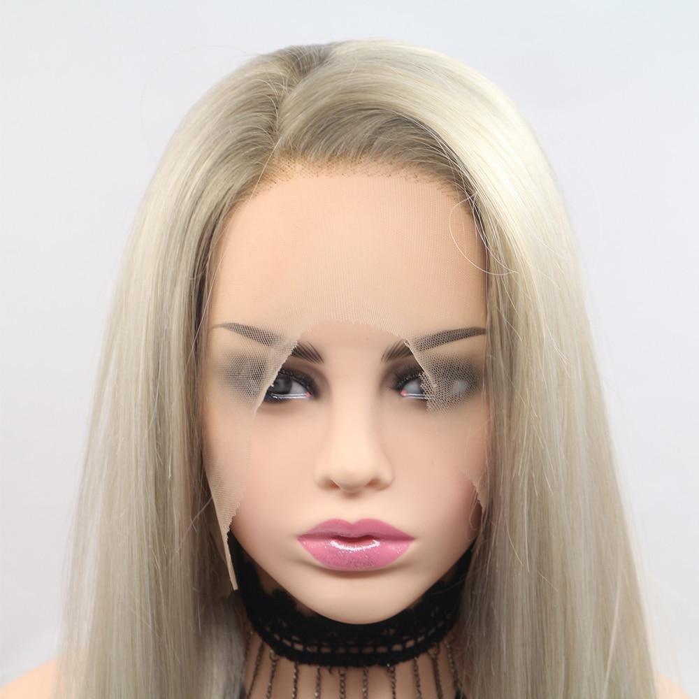 Marquesha Ombre platino Rubio raíces marrones pelo sintético pelucas de encaje frontal recto medio atado a mano pelucas de repuesto