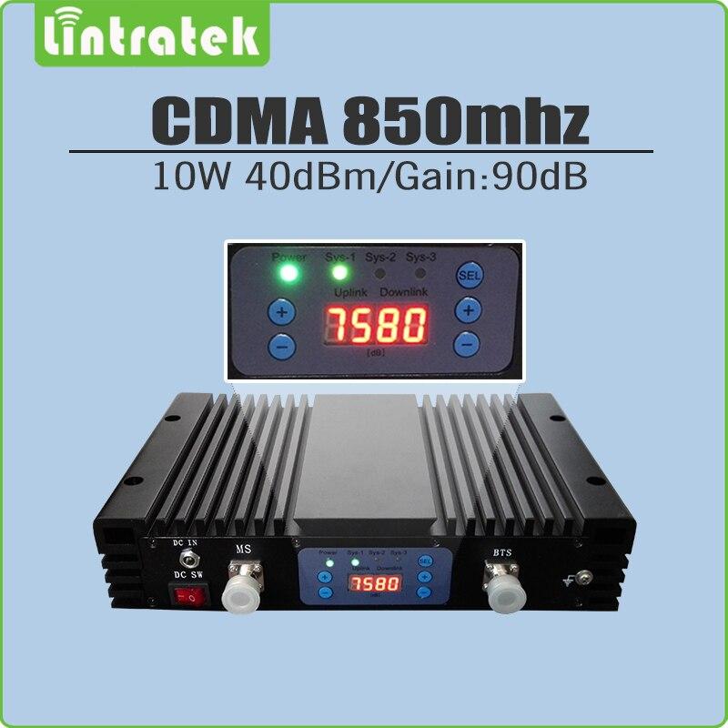 Gran potencia 10 W/40dBm ganancia 90dB CDMA 850 mhz amplificador de señal LTE 850 mhz (Banda 5) repetidor de señal móvil con pantalla lcd y AGC/MGC