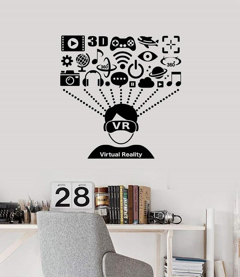Vinilo aplique de pared Realidad virtual VR auricular reproductor de usuario arte adhesivo mural juego fan teen boy dormitorio decoración del hogar 2YX28